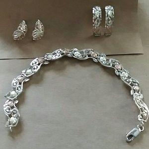 Vintage Sterling & 12K Bracelet and Earrings Set